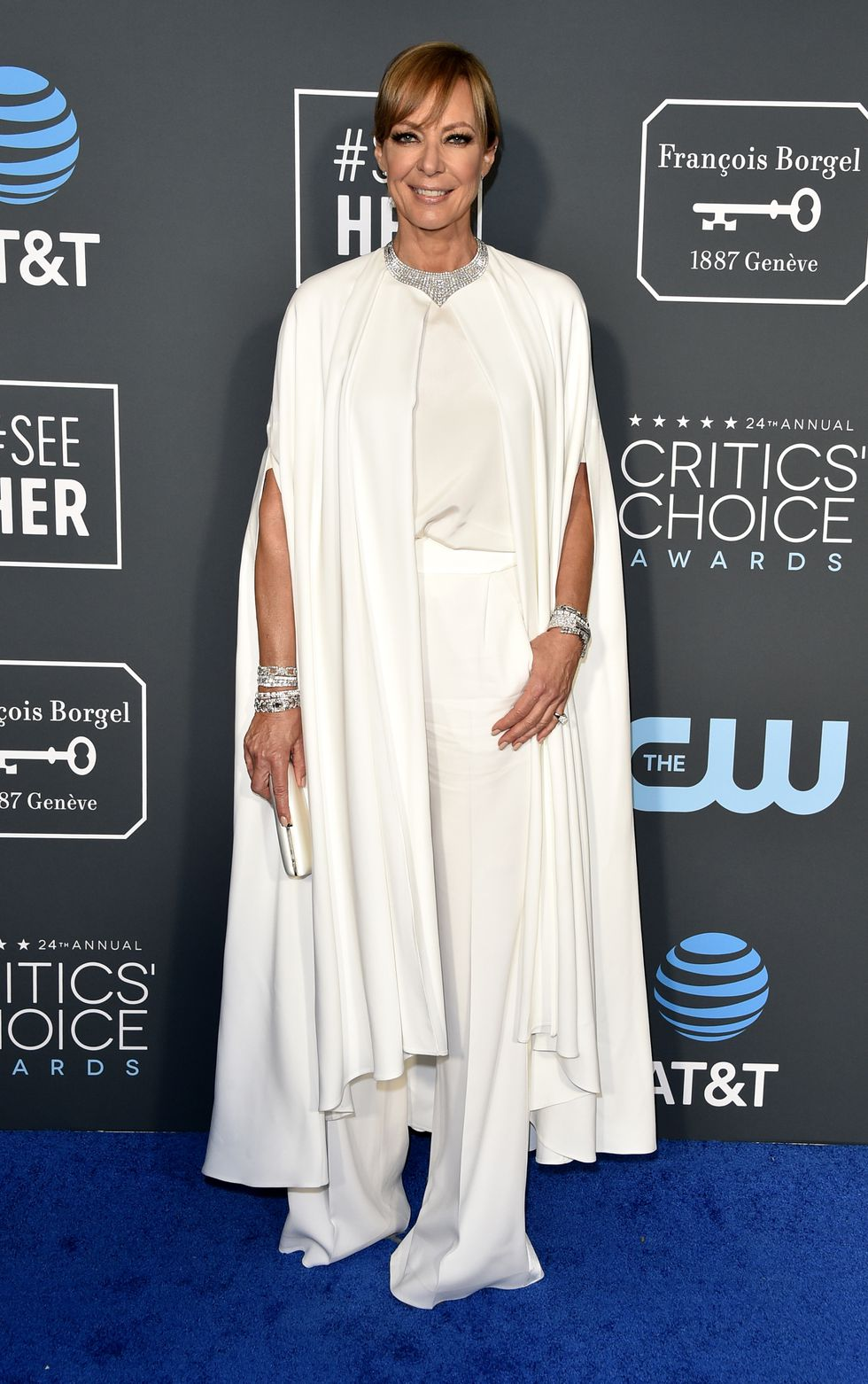 Allison Janney in a white Alberta Ferretti Limited Edition outfit and Sarah Flint shoes at the 24th Annual Critics' Choice Awards.
