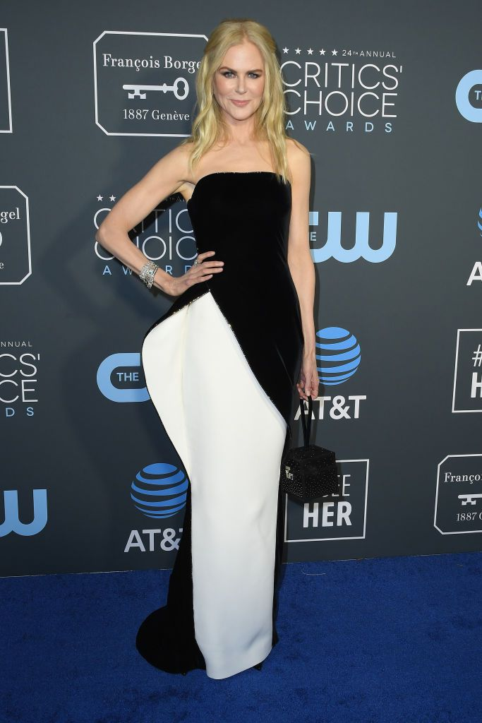 Nicole Kidman in a strapless black and white Armani Prive dress at the 24th Annual Critics' Choice Awards.